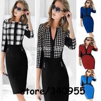 Women Dresses New Fashion Brand Elegant Midi V-neck Party Evening Pencil Dresses Size S M L XL XXL