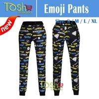 2015 New Emoji Joggers Pants Women Men White/Black for Sweatpant Trousers Cartoon Emoji Joggers Pants Outfit Free Shipping