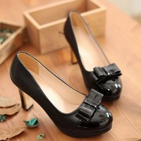 New Ladies Office Heels Candy Color Japanned Leather Bow Sweet Thick Heel Pumps For Women Round Toe Elegant Dress Shoes