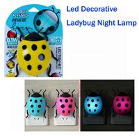 New Excellent Plastic Light Controlled Children Room Decorative Ladybug Night Lamp, Led Power Saving Ladybird Light For Kids.