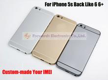 На заказ ваше imei! для IPhone 5S замена назад крышку корпуса заднюю сторону обложки в 6 г 6 + стиль, логотип отдельно от назад тела, 3 цвет