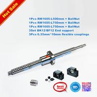 Dia.16mm Screws ballscrews SFU1605 with ballnuts +3set BK/BF12 + 3 couplings SFU1605-500/750/750mm