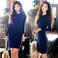 Retail Warm Dresses Bandage Winter Casual women dress Sexy Ladies Long Sleeve Female Fashion Black/Blue Fitting Bodycon B16