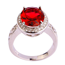 Free Shipping Wholesale Ruby Spinel White Topaz 925 Silver Ring Size 7 8 9 10 11