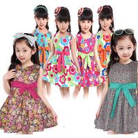 Retail princess 2015 summer  baby girls dress kids clothing princess children flower print kids dress 3~12age summer girl dress