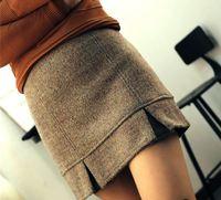 S M 2015 Women Fashion Woolen Ruffles Bud Short Skirt Students Sexy Party Club Empire Mini Skirt 3228
