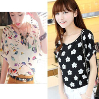 Hot Sale 2015 New Summer Chiffon Shirt Short-Sleeved T-Shirt Women Plus Size Thin Loose Basic Shirt Summer Bat shirt