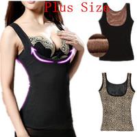 Female low-cut winter thermal underwear abdomen plus thicken velvet warm Breast care vest women bodyshaper slimming tops W00270