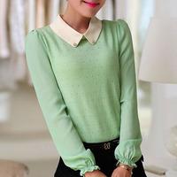 2015 Spring Summer New Solid Pink Green Chiffon Blusas Femininas Women Casual Vintage Peter Pan Collar Puff Long Sleeve Blouses