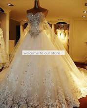 الأميرة الفاخرة جديد أ-- خط فساتين الزفاف الراين الابهار 2015 اليدوية الكريستال مذهلة فساتين الزفاف الرومانسية(China (Mainland))
