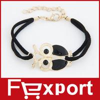Vintage Owl Leather Bracelet Statement Accessories Jewelry 478