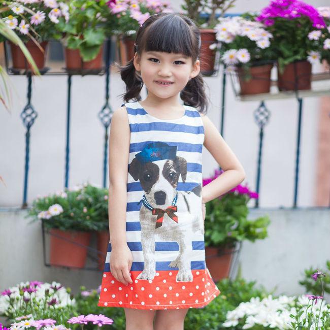 Продажа новорожденных девочек платье лето 2015 новинка щенок животных майка свободного покроя девочек платье 100% хлопок 24 м - 8 т