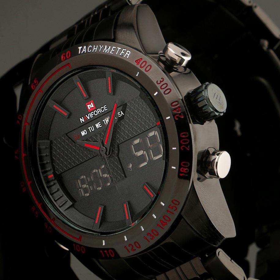 2015 New Fashion Men Watches Full Steel Men's Quartz Hour Clock Analog Digital LED Watch Sports Military Wrist Watch(China (Mainland))