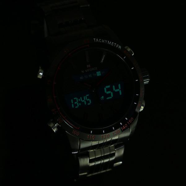 2015 новинка мужчины часы мужская полный стали кварцевые час часы аналоговый цифровой из светодиодов часы спорт военная наручные часы