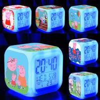 8*8*8cm New 2015 Peppa Pig Alarm Clock LED 7 Colors Changing Digital Display Night Colorful Alarm Clock Peppa Pig Toys Gifts