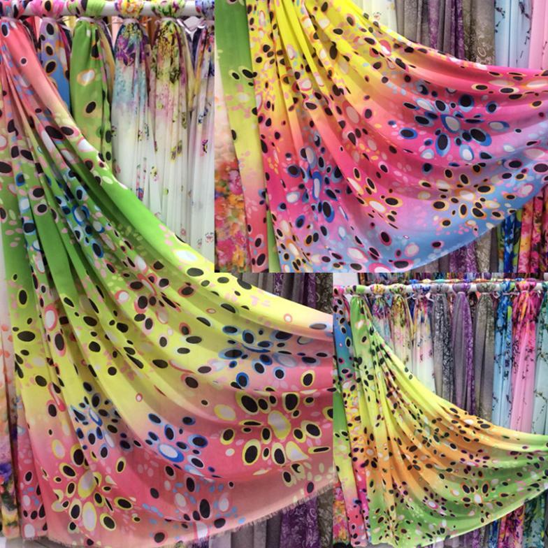 1 meter 100% chiffon fabric for sewing chiffon fabric tecido tulle zakka Christmas printed silk cloth textile patchwork new(China (Mainland))