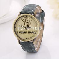 Luxury new design dial with the word work hard leather strap top quality men dress women wear wristwatch watches  luxuryXR771
