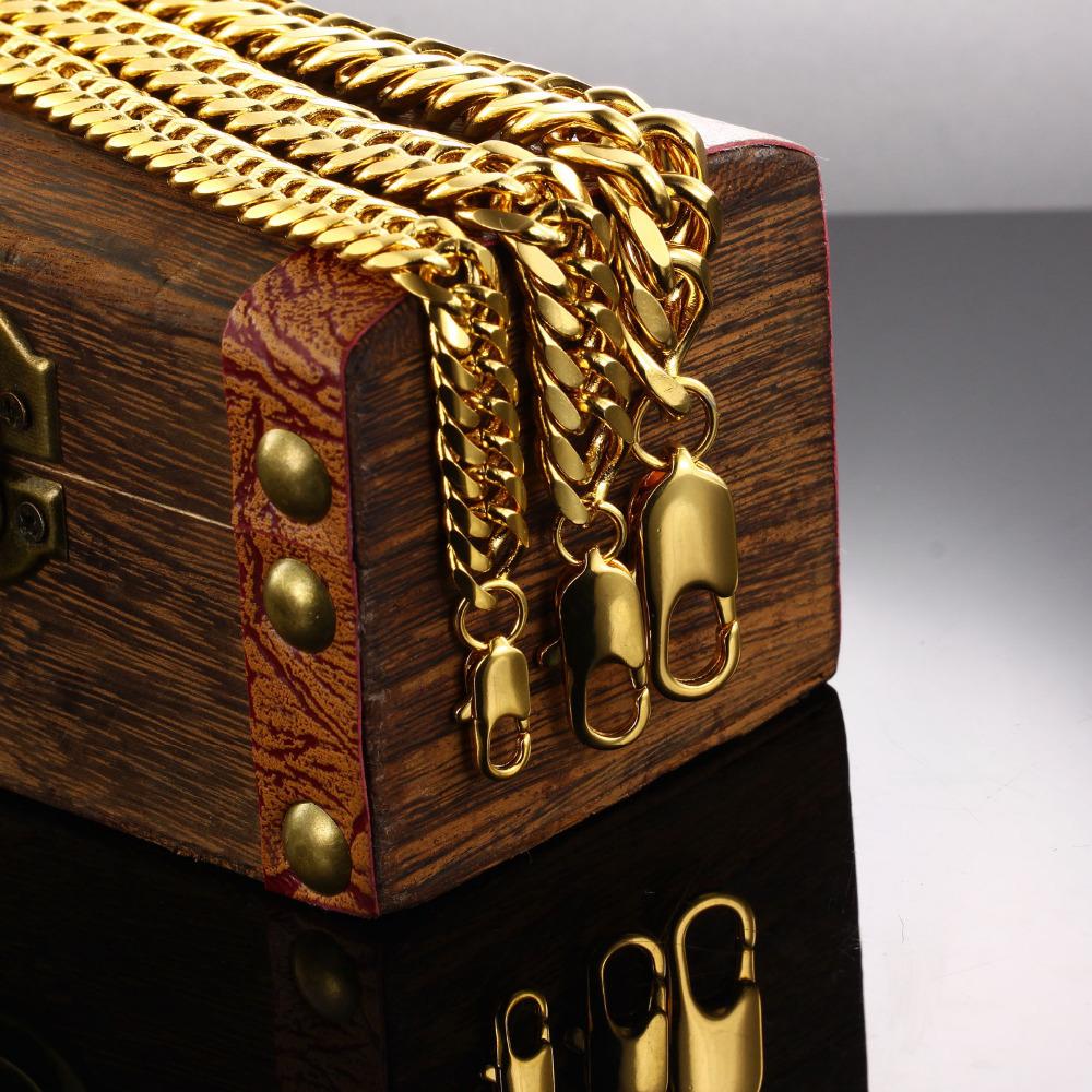 Classic Chain Bracelet 18K GOLD Bracelet cool men gold bracelet link 8 10 12MM wedding jewellery
