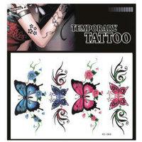(12pcs) Free Shipping 2015 New Temporary Tattoo Sexy Flash Women Fake Makeup Large Waterproof Body Tattoo Stickers -Butterfly