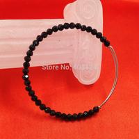 1pc 2015 New Fashion Alex and Ani Adjustable Wire With Black Crystal Bead Bangle/Crystal Bead Alex and Ani Bracelet-SL764