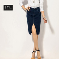 JYL jeans 2015 New Casual Play Jeans Office lady pencil skirts,brand design front split slim denim skirt for women business