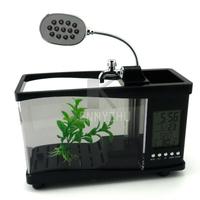 New 13 LED Table Lamp Mini USB Fish Tank Built-in Battery LCD Clock Calendar Alarm Temperature Display Desktop Colorful Aquarium
