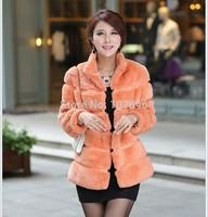 Luxury Ladies' Fashion Genuine Natural Rex Rabbit Fur Jacket Coat Mandarin Collar Winter Women Fur Short Outerwear Coats VK2001