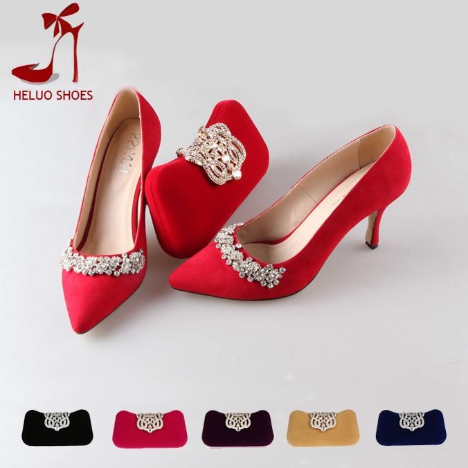 Couleurs à la main personnalisé 6 correspondants chaussures et sac d'ensemble chaussures de mariage des femmes talons de chaussures + les femmes sacs de soirée embrayage bs020