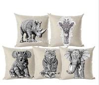 45*45cm Animal Elephant Giraffe Leopard Owl Panda Cushion Cover High Quality Throw Pillow Cover Pillowcase Almofadas decorativas