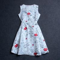 Free shipping women's high quality new runway 2015 kiss me letter dot portrait print sleeveless summer dress