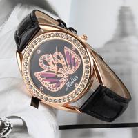 New Arrive Charm crystal swan watch Women Leather Strap Watches, relogio masculino lady Rhinestone Quartz Wristwatch