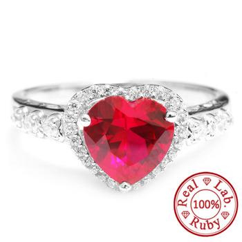 3ct голубиная кровь красный драгоценный камень рубин кольцо сердца для женщин свадьбы ...