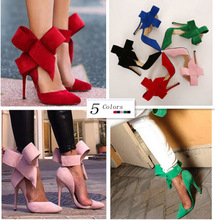 Plus Size Shoes Women Big Bow Tie Pumps 2015 Butterfly Pointed Stiletto Shoes Woman High Heel