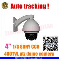"Color 480TVL; B/W 540TVL, 1/3"" CCD 10x high speed PTZ dome security camera,4""  Outdoor mini high speed dome camera"