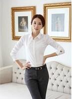 Women's white shirt female long-sleeve autumn and winter slim plus size formal basic shirt ol Work Wear