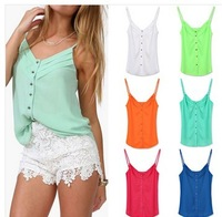 2015 Hot Sale Pleated Adjustable Button Tops Sleeveless Camisole Sexy Women V-Neck Spaghetti Strap Tank