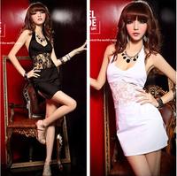 Free shipping 2015 summer women dress tight sexy transparent lace halter mini dress club black / white uniforms