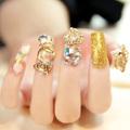 2015 new Fashion wending bride luxurious Gold Shiny false Nail tips decals,women finger Minix Nail Art 3D Decoration
