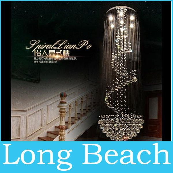 Grátis frete modern luxury projeto espiral iluminação lustre de cristal grande escada brilho luzes led Dia80 * H260cm garantia de 100%(China (Mainland))