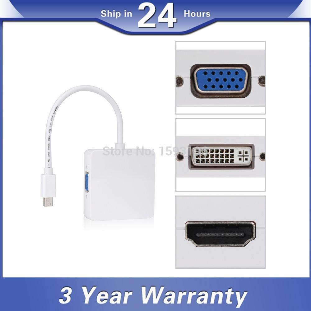 Free Drive Mini DisplayPort Display Thunderbolt Port Male to DVI VGA HDMI Female Adapter Converter Cable for Mac Book Pro Air(China (Mainland))