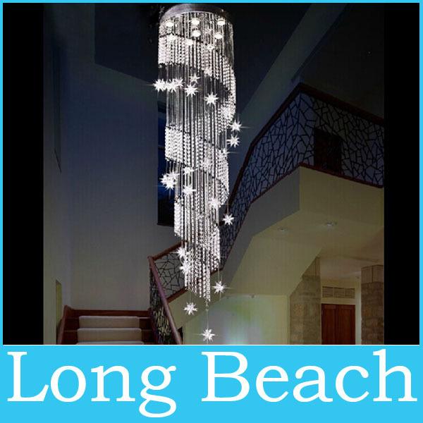 Grátis frete lustre de cristal projeto espiral lustres de decoração para led home stair iluminação(China (Mainland))