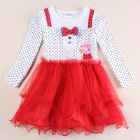 girls peppa tutu princess dress kids peppa pig autumn spring dress children clothing girls 100% cotton party evening dress H5731