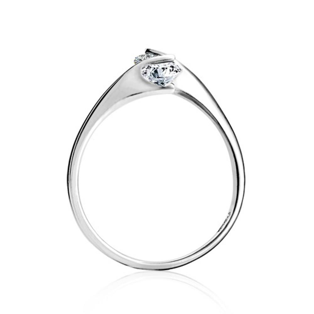 fashion 925 sterling silver rings double crystal opening rings in fine jewelry wedding rings for women