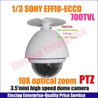 3.5 inch 10X optical zoom super PTZ mini high speed dome camera , EFFIO Sony 1/3 CCD 700TVL