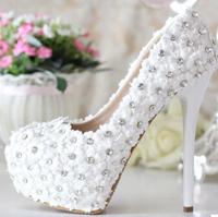 White lace ultra high heels wedding shoes bridal shoes formal dress shoes rhinestone wedding heels pumps for women pumps