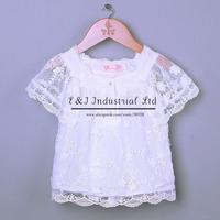 Retail New Summer Girls T Shirt Short sleeve Cool Summer Lace Baby Girls Blouse Tops Wear Causal Chilrdren Clohing Free Shipping