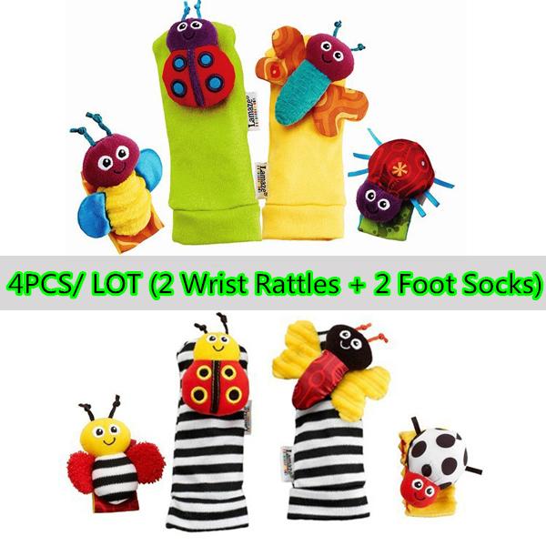 O envio gratuito de meias de bebê e bebê chocalho brinquedos Garden Bug Wrist Rattle pé meias(China (Mainland))