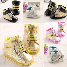 2015 New Garçon Fille Chaussures de sport Première Walkers enfants Chaussures enfants Gold Wing Sneakers Sapatos Infantil Bebe Semelles souples Prewalker(China (Mainland))