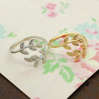 Korean Fashion Women Ring Fashion Jewelry Gold Silver Leaf Finger Rings Free Shipping RI016