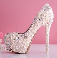 Pearl powder wedding shoes rhinestone wedding shoes ultra high heels crystal shoes the bride pumps formal dress high heels